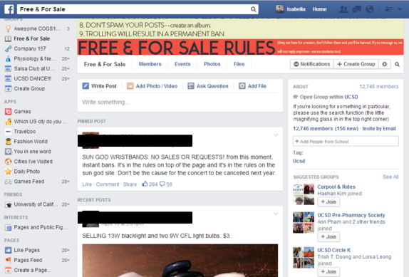 A screenshot of the UCSD Free & For Sale group page